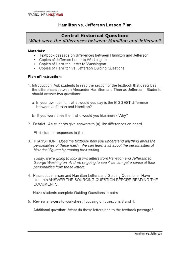 hamilton vs jefferson lesson plan Hamilton Musical – Thomas Jefferson Worksheet