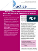 Roles and Systems for Pevention Med Error 2010