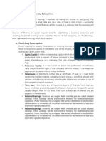 Need and Sources of Financing Enterprises