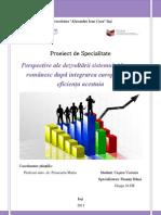 ProjectPerspective ale dezvoltării sistemului bancar românesc după integrarea europeană și eficiența acestuia
