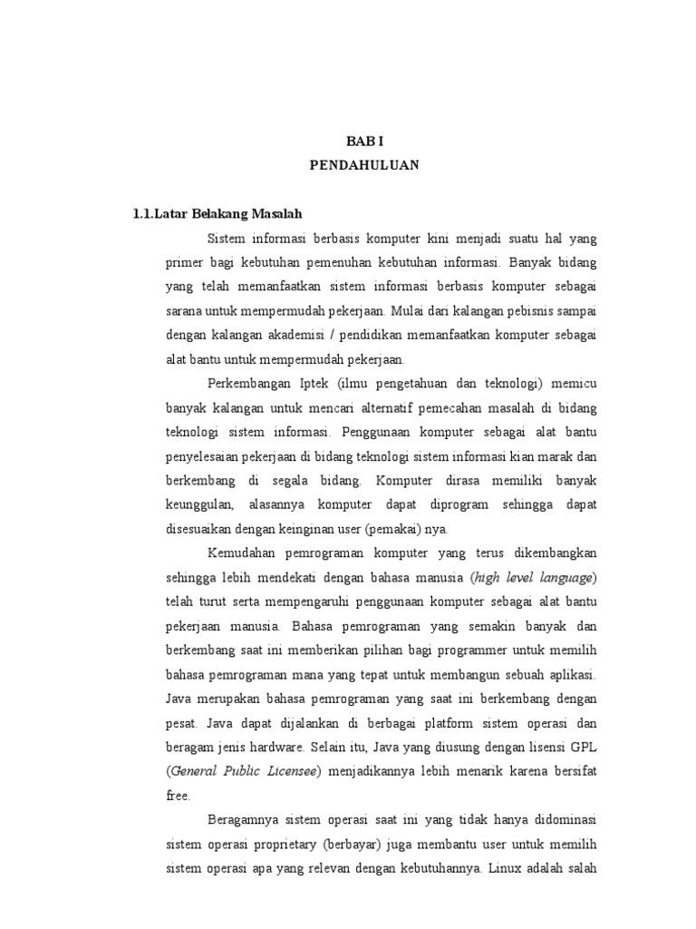 Bab I Skripsi Sistem Informasi Administrasi Komputerisasi Keuangan Ma Mazro Atul Huda Karanganyar Berbasis Opensource