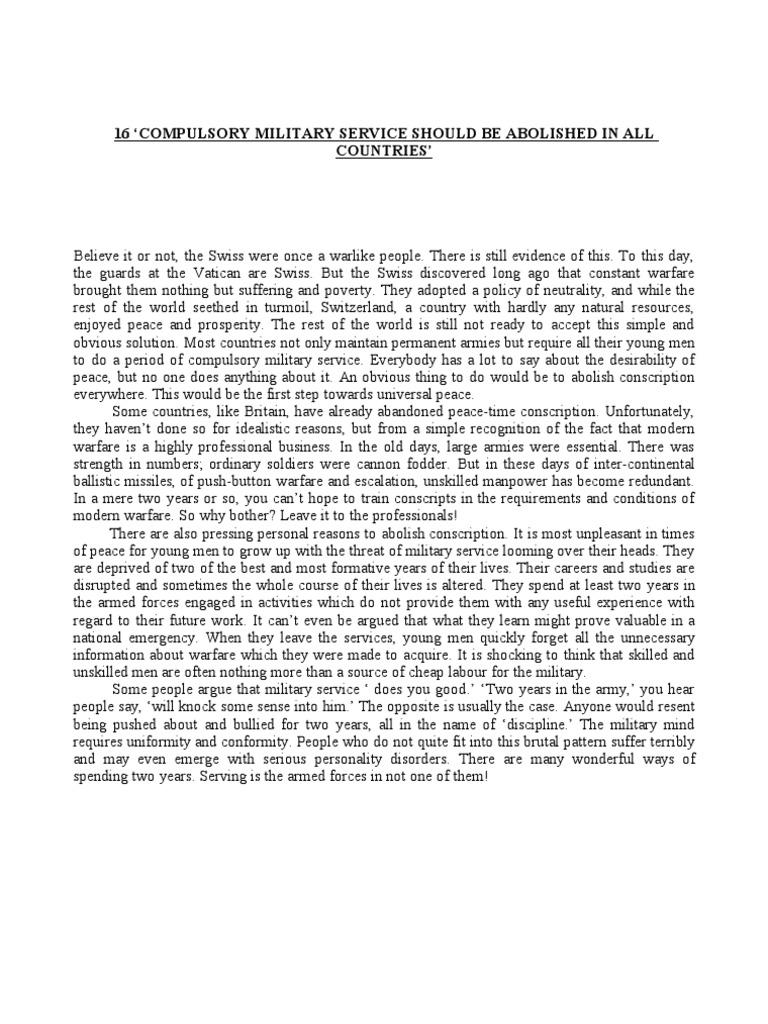 Compulsory military service essay