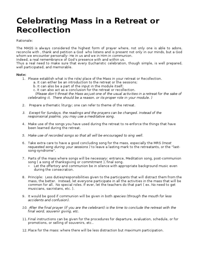 Celebrating mass in a retreat or recollection mass liturgy celebrating mass in a retreat or recollection mass liturgy eucharist altavistaventures Choice Image