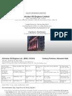 Kirloskar Oil Engines Ltd Aug 2012