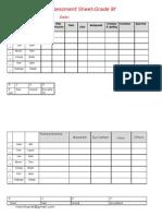 Assesment Sheet Grade8f