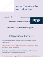 Intrapersonal Barriers to Communication