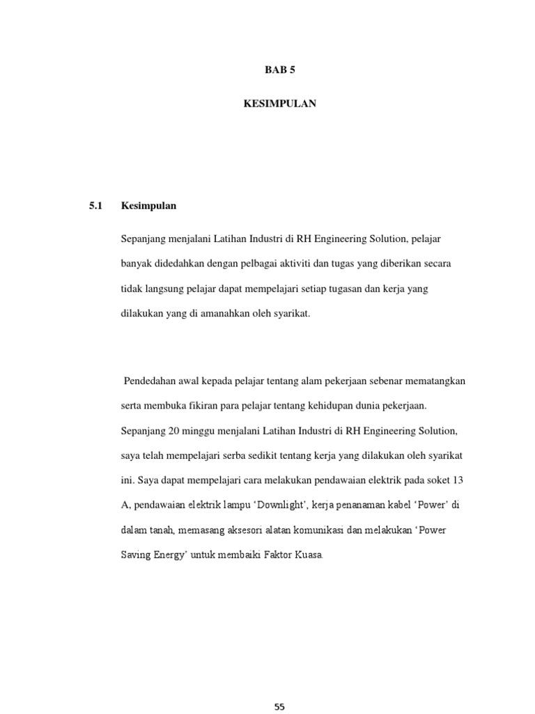 Bab 5 Kesimpulan Latihan Industri