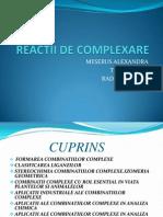 Reactii de Complexare