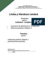 Limba Si Literatura Romana, Matematica Si Metodica Predarii Acestora_Institutori-Invatatori_def& Grad II(2000)