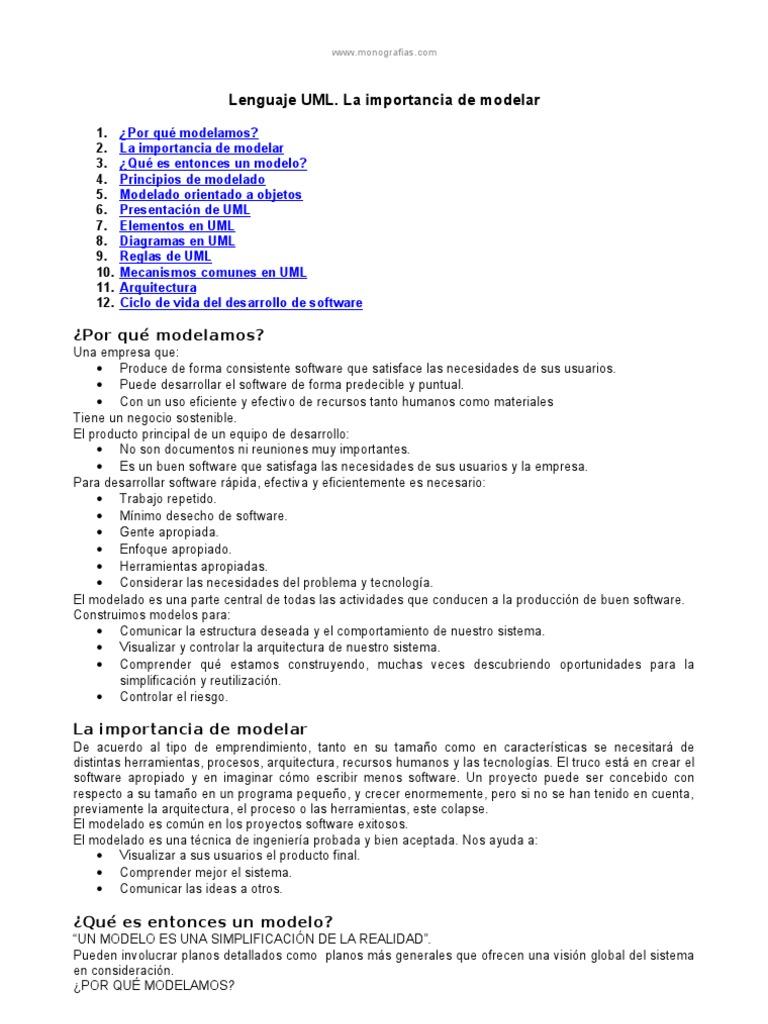 Lenguaje Uml Importancia Modelar | Software Engineering ...