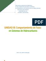 UNIDAD III. Comportamiento de Fases en Sistemas de Hidrocarburos