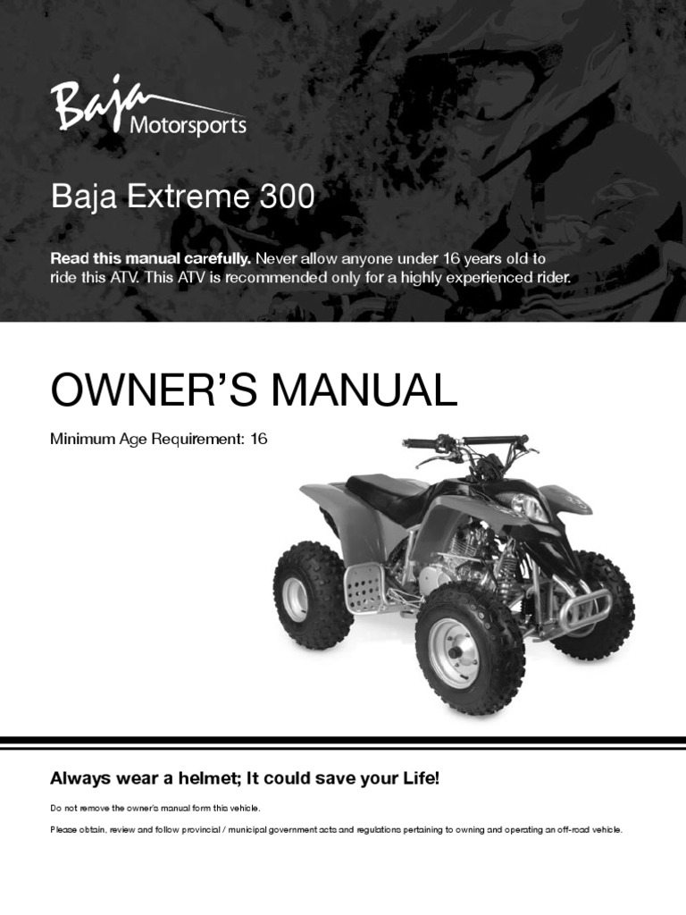 X300 - Extreme 300cc ATV Owners Manual | Hypothermia | Clutch