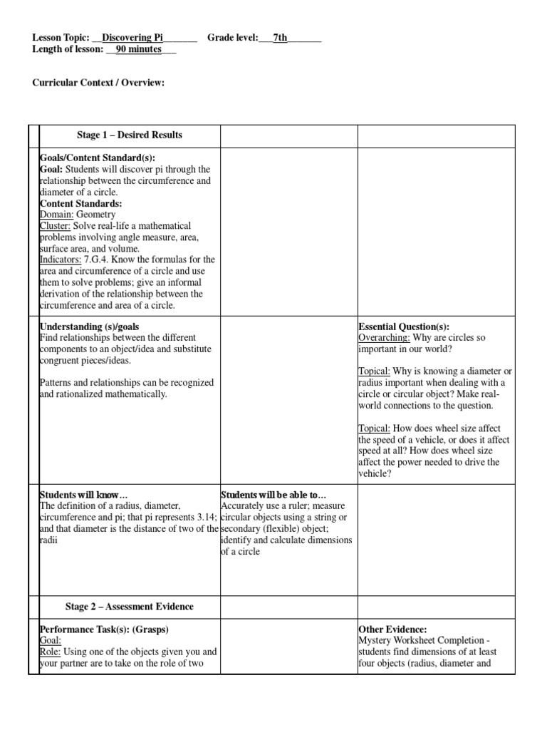 Workbooks worksheets on circumference and area of a circle : Ubd Lesson Plan Discovering Pi | Pi | Applied Psychology