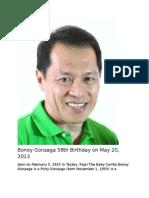 Bonoy Gonzaga 58th Birthday