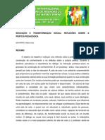 Educacaçao e trasnformaçao social reflexoes
