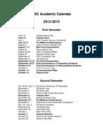 USC Academic Calendar 2013