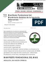 Manifiesto Fundacional Del Movimiento Andaluz de La Izquierda Soberanista