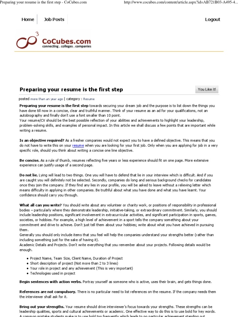 preparing your resume is the first step cocubes résumé