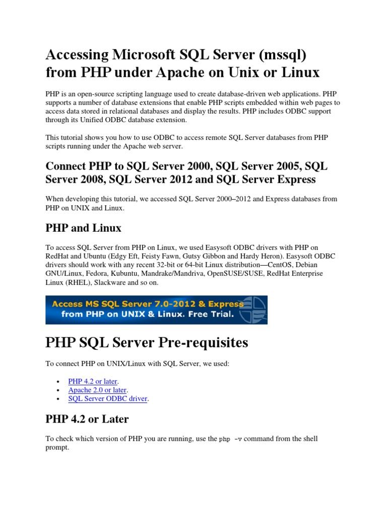 Accessing Microsoft SQL Server docx | Php | Microsoft Sql Server