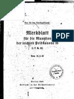 H.Dv.481-14 Merkblatt für die Munition der leichten Feldkanone 18 - 16.04.1940