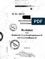 H.Dv.481-55 Merkblatt für die Munition der 7,5 cm Kampfwagenkanone 42 und 7,5 cm Sturmkanone 42 - 28.01.1943
