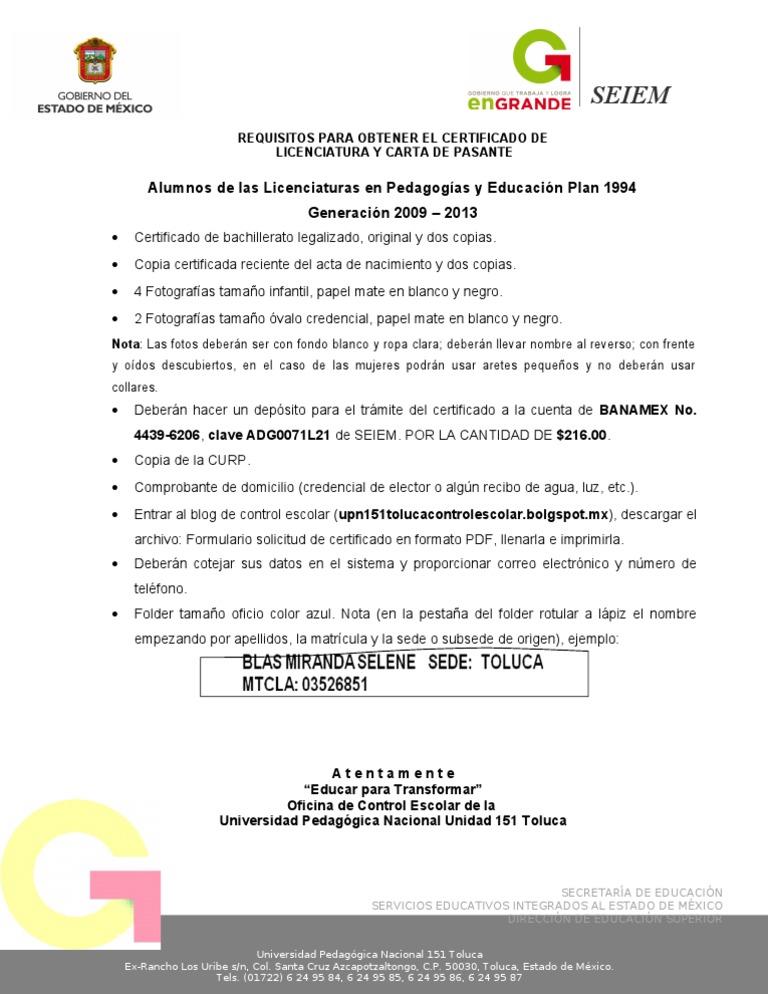 Requisitos Certificado y Carta de Pasante de Licenciatura