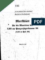 H.Dv.481-85 Merkblatt für die Munition der 7,62 cm Panzerjägerkanone 36 - 11.06.1942