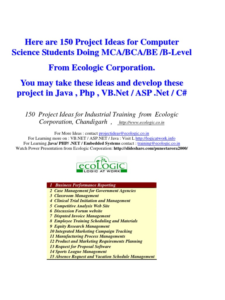150 Sofware Project Ideas For Students Of Computer Science