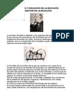 Historia y Evolucion de La Bicicleta