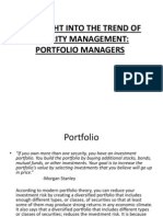 An Insight Into the Trend of Security Management - Portfolio Management