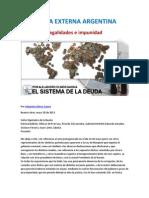 DEUDA EXTERNA ARGENTINA-Ilegalidades e impunidad- Por Alejandro Olmos Gaona