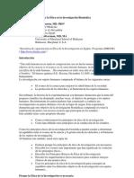 Cap I Historia y Principios de la Ética en la Investigación Biomédica