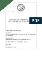 2013 Programa Didáctica Especial y Prácticas Enseñanza Filosofía