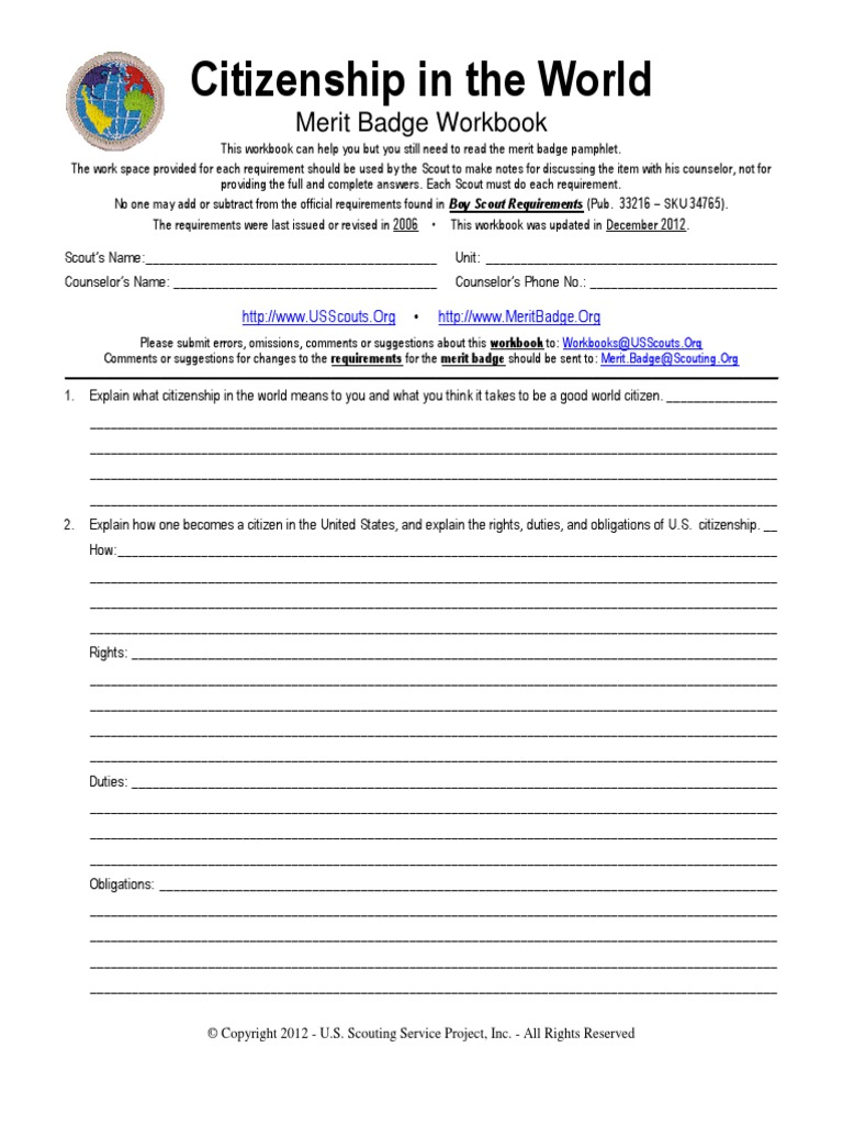 Citizenship In The World Merit Badge Worksheet Boy