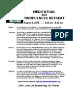 Meditation Retreat - Sat., Aug. 3, 2013, 8:30 am - 4:30 pm