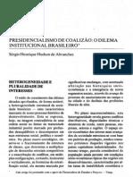 ABRANCHES, Sérgio - Presidencialismo de coalizão - o dilema institucional brasileiro
