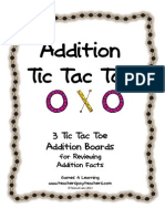 Addition Tictac Toe Freebie