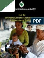 Buku Seri Etnografi Kesehatan Ibu dan Anak 2012; Etnik Bali, Banjar Banda, Desa Saba, Kecamatan Blahbatuh, Kabupaten Gianyar, Provinsi Bali