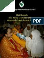 Buku Seri Etnografi Kesehatan Ibu dan Anak 2012; Etnik Gorontalo, Desa Imbodu, Kecamatan Randangan, Kabupaten Pohuwato, Provinsi Gorontalo