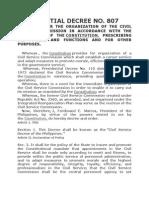 PD 807- Civil Service Decree