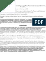 ACUERDO número 384 por el que se establece el nuevo Plan y Programas-mexico
