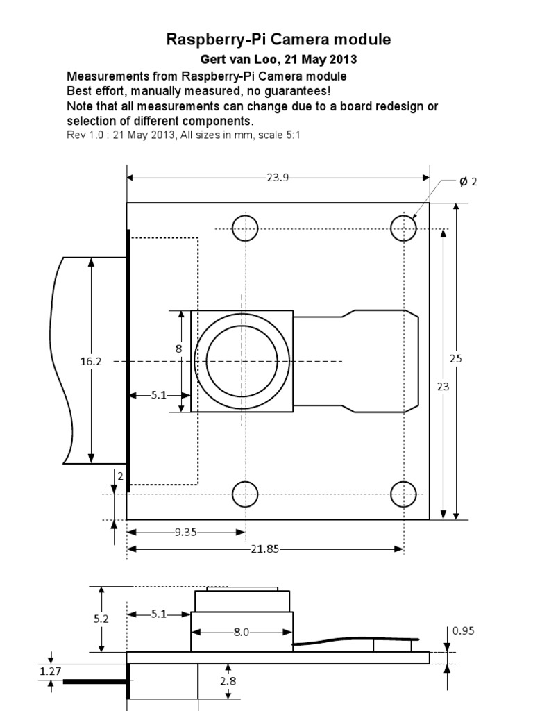 Raspberry-Pi Camera Mechanical Data on