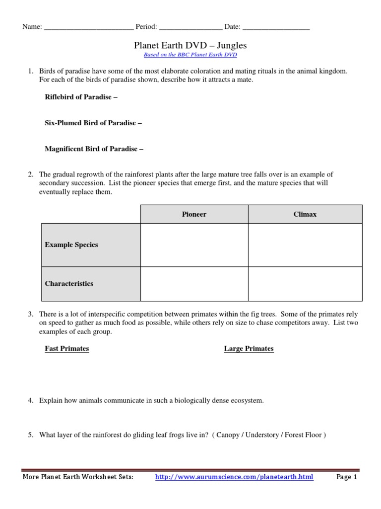 Planet Earth Worksheet - Synhoff