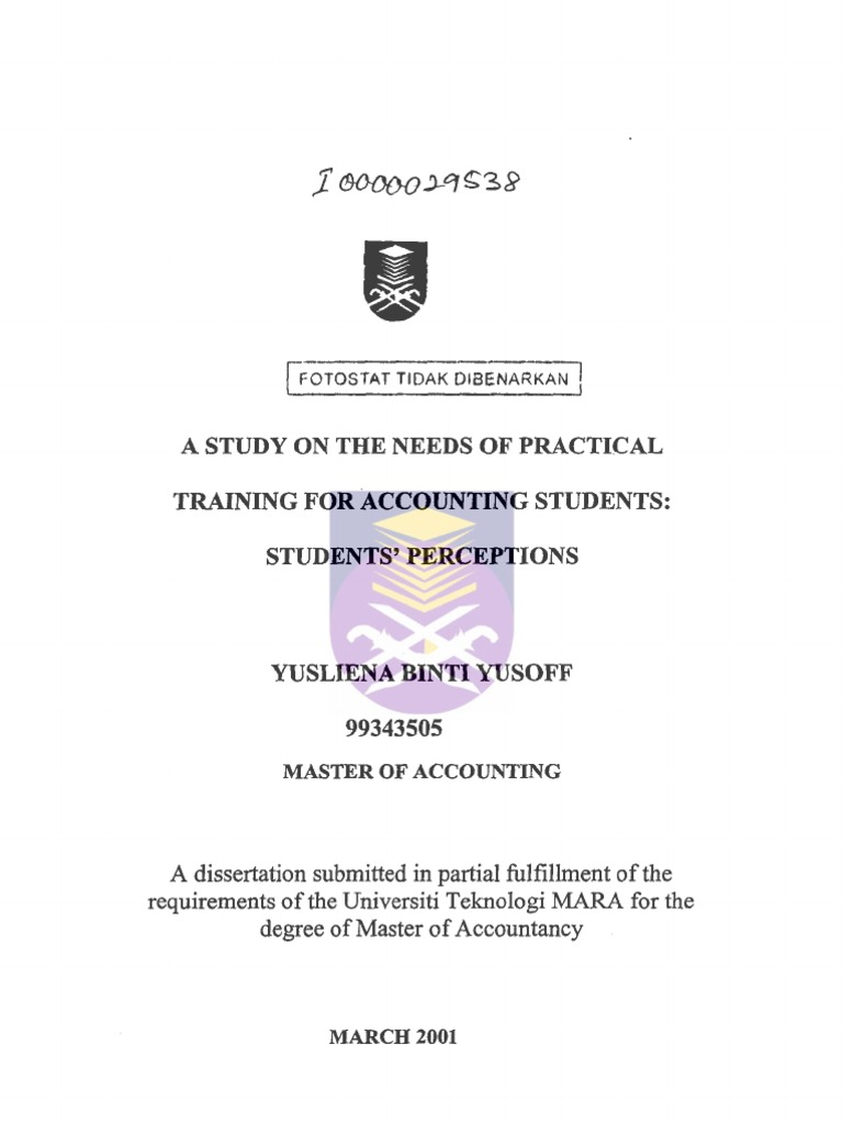example of practical training report uitm accounting student Universiti teknologi mara official website accounting, finance, economics practical training is to provide the students with some real working environment.