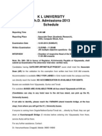 Revised Schedule for Ph.D Entrance Test 2013
