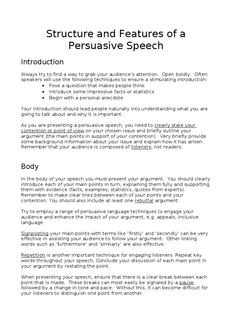 What is a persuasive speech?
