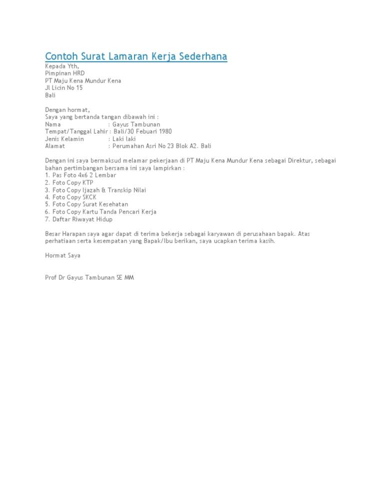 Surat Lamaran Sederhana