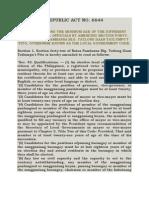 RA 6644- Reducing the Minimum Age of Elective Local Officials, Amending Sec. 42 of BP 337- LGC