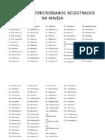 Lista de Antimicrobianos Registrados Na Anvisa