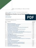 Devt Studies Journals Ranking